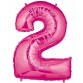 Folienballon Zahl 2, 100 cm, rosa