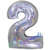 Zahl 2, holografisch, Silber, Luftballon aus Folie, 100 cm