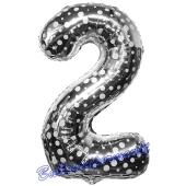 Zahl 2, Silber mit Punkten, Luftballon aus Folie, 86 cm