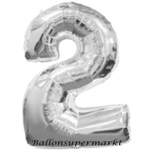 Zahl 2, Silber, Luftballon aus Folie, 100 cm