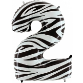 Zahlendekoration Zahl 2, Zwei, Großer Luftballon aus Folie, Zebra-Optik, 1 Meter hoch, Folienballon Dekozahl