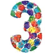 Zahlendekoration Zahl 3, bunt, Großer Luftballon aus Folie, Blau, 1 Meter hoch, Folienballon Dekozahl
