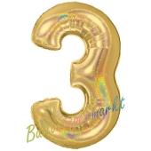Zahlendekoration Zahl 3, holografisch, Gold, Folienballon Dekozahl ohne Helium
