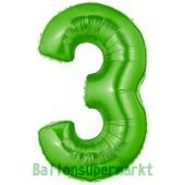 Zahl 3, Grün, Luftballon aus Folie, 100 cm