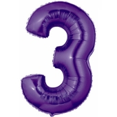 Zahlendekoration Zahl 3, Lila, Großer Luftballon aus Folie, Blau, 1 Meter hoch, Folienballon Dekozahl