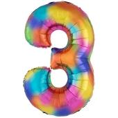 Zahlen Luftballon Zahl 3, Regenbogenfarben, Ballon aus Folie, Dekozahl ohne Helium
