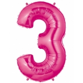 Folienballon Zahl 3, 100 cm, rosa