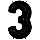 Zahl 3, Schwarz, Luftballon aus Folie, 100 cm