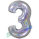 Zahl 3, holografisch, Silber, Luftballon aus Folie, 100 cm