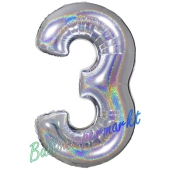 Zahlendekoration Zahl 3, holografisch, Silber, Folienballon Dekozahl ohne Helium