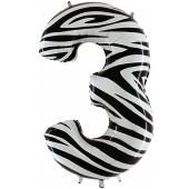 Zahl 3, Zebra Print, Luftballon aus Folie, 100 cm
