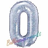 Luftballon Zahl 0, holografisch, silber, 35 cm