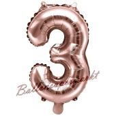 Luftballon Zahl 3, roségold, 35 cm