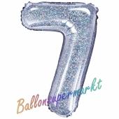 Luftballon Zahl 7, holografisch, silber, 35 cm