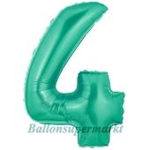 Zahlendekoration Zahl 4, Aquamarin, Folienballon Dekozahl ohne Helium