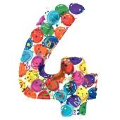Zahlendekoration Zahl 4, bunt, Großer Luftballon aus Folie, Blau, 1 Meter hoch, Folienballon Dekozahl