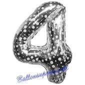 Zahlendekoration Zahl 4, Silber mit Punkten, Vier, Großer Luftballon aus Folie, 86 cm hoch, Folienballon Dekozahl