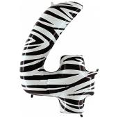 Zahl 4, Zebra Print, Luftballon aus Folie, 100 cm