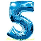 Zahl 5, Blau, Luftballon aus Folie, 100 cm