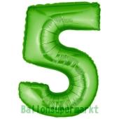 Zahlendekoration Zahl 5, Grün, Folienballon Dekozahl ohne Helium