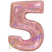 Zahl 5, holografisch, Rose Gold, Luftballon aus Folie, 100 cm