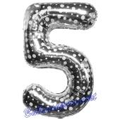 Zahl 5, Silber mit Punkten, Luftballon aus Folie, 86 cm