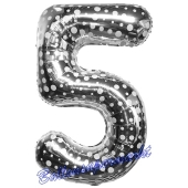 Zahlendekoration Zahl 5, Silber mit Punkten, Fünf, Großer Luftballon aus Folie, 86 cm hoch, Folienballon Dekozahl