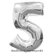Zahlendekoration Zahl 5, Silber, Großer Luftballon aus Folie, Blau, 1 Meter hoch, Folienballon Dekozahl