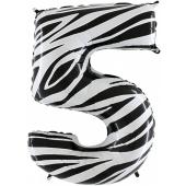 Zahl 5, Zebra Print, Luftballon aus Folie, 100 cm