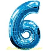 Zahl 6, Blau, Luftballon aus Folie, 100 cm