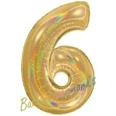 Zahl 6, holografisch, Gold, Luftballon aus Folie, 100 cm