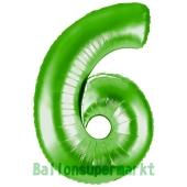 Zahlendekoration Zahl 6, Grün, Folienballon Dekozahl ohne Helium