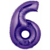 Zahlendekoration Zahl 6, Lila, Großer Luftballon aus Folie, Blau, 1 Meter hoch, Folienballon Dekozahl