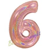 Zahlendekoration Zahl 6, holografisch, Rose Gold, Folienballon Dekozahl ohne Helium
