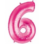 Folienballon Zahl 6, 100 cm, rosa