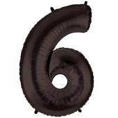 Zahl 6, Schwarz, Luftballon aus Folie, 100 cm