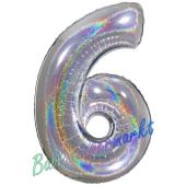 Zahl 6, holografisch, Silber, Luftballon aus Folie, 100 cm
