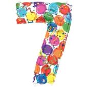 Zahlendekoration Zahl 7, bunt, Großer Luftballon aus Folie, Blau, 1 Meter hoch, Folienballon Dekozahl