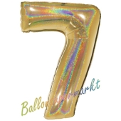 Zahlendekoration Zahl 7, holografisch, Gold, Folienballon Dekozahl ohne Helium