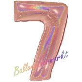 Zahl 7, holografisch, Rose Gold, Luftballon aus Folie, 100 cm