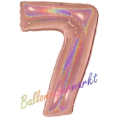 Zahlendekoration Zahl 7, holografisch, Rose Gold, Folienballon Dekozahl ohne Helium