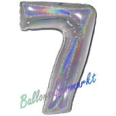 Zahlendekoration Zahl 7, holografisch, Silber, Folienballon Dekozahl ohne Helium
