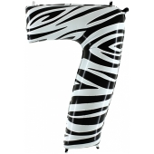 Zahl 7, Zebra Print, Luftballon aus Folie, 100 cm