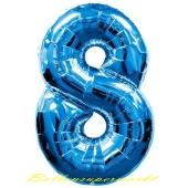 Zahl 8, Blau, Luftballon aus Folie, 100 cm