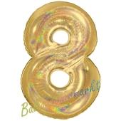 Zahl 8, holografisch, Gold, Luftballon aus Folie, 100 cm