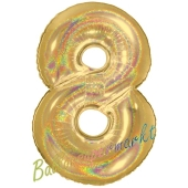 Zahlendekoration Zahl 8, holografisch, Gold, Folienballon Dekozahl ohne Helium