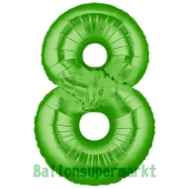 Zahl 8, Grün, Luftballon aus Folie, 100 cm