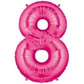 Folienballon Zahl 8, 100 cm, rosa