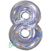 Zahl 8, holografisch, Silber, Luftballon aus Folie, 100 cm