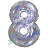 Zahlendekoration Zahl 8, holografisch, Silber, Folienballon Dekozahl ohne Helium